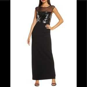 New Vince Camuto Black Sequin & Mesh Bodice Column Gown size 12
